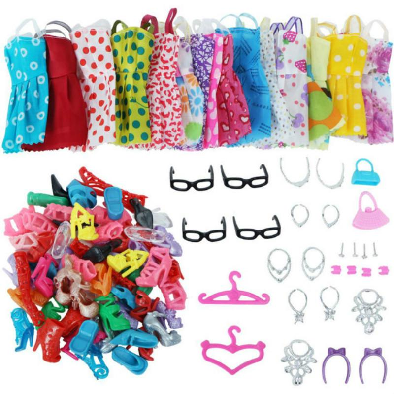 9pcs//set Girls Beauty Princess Dolls Clothes Boots Toys for Baby Learning Gift
