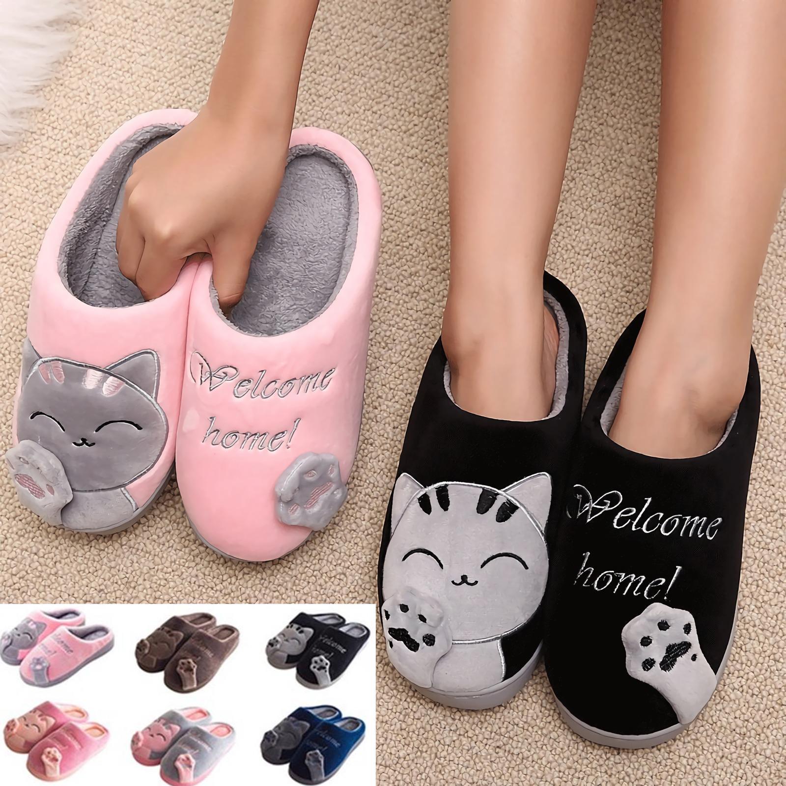 Дом зимний мужчин женщин Тапочки мультфильм Cat обувь мягкие теплые тапочки скольжения Крытый спальня фото