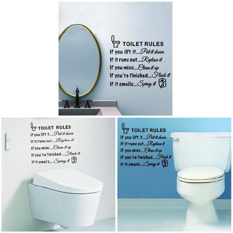 Toilet Rules Bathroom Removable Wall Sticker Vinyl Art Decals Diy Home Decor QW