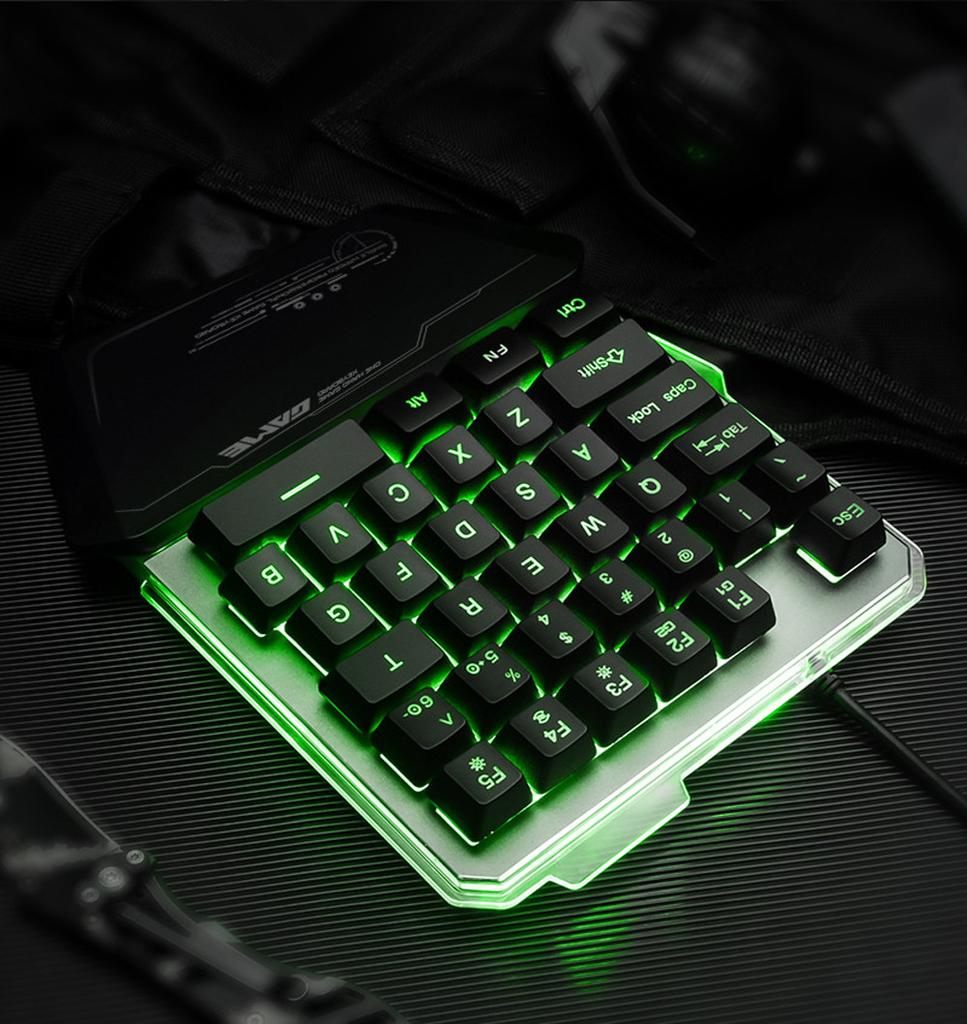 G40 Wired Gaming Keypad with LED Backlight 35 Keys One-handed Membrane Keyboard