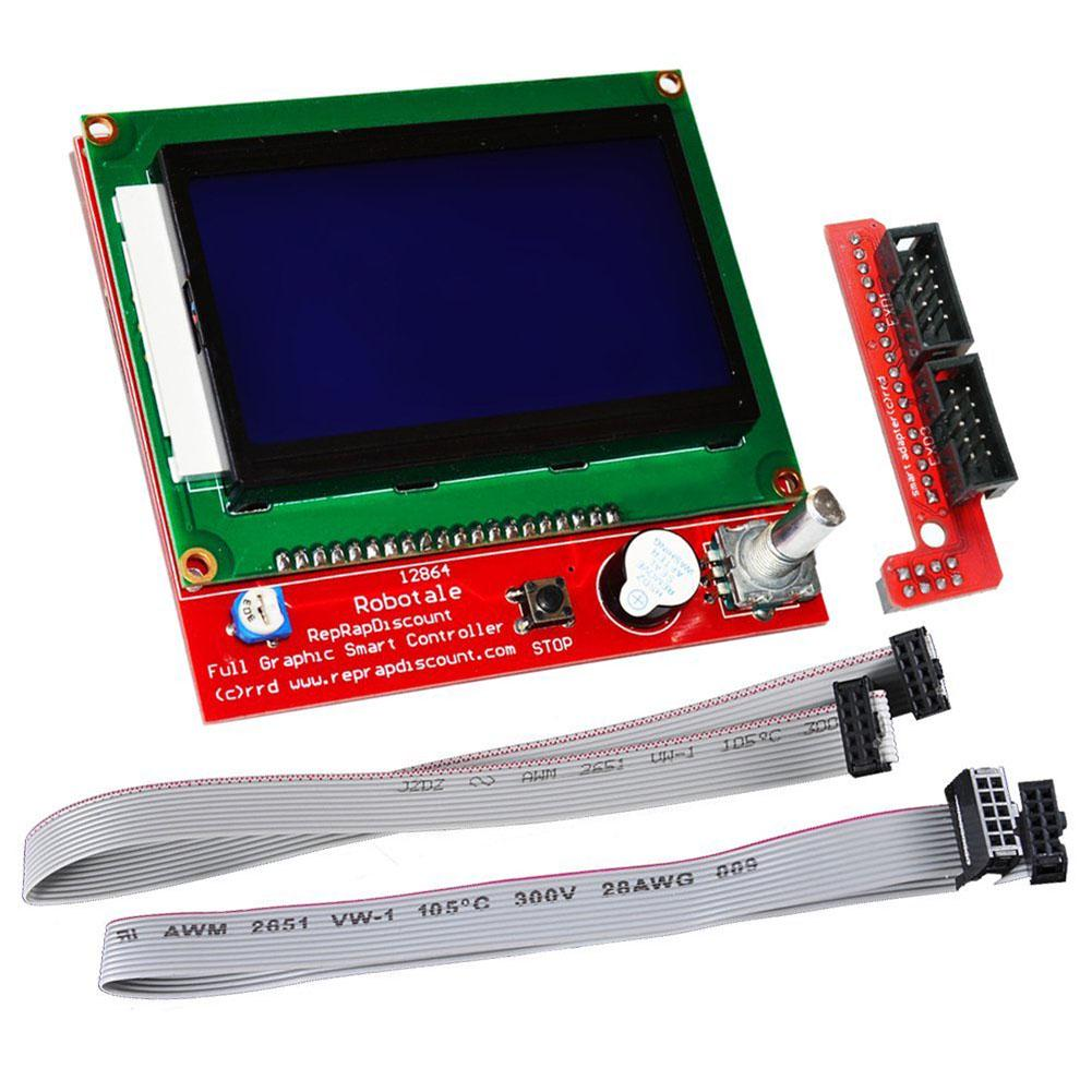 Lcd 12864 Graphic Smart Controller Module With Connector Adapter For Ramps 14 Mega2560 R3 A4988 Optical Endstop 3d Printer Kit Alex 2 Of 7