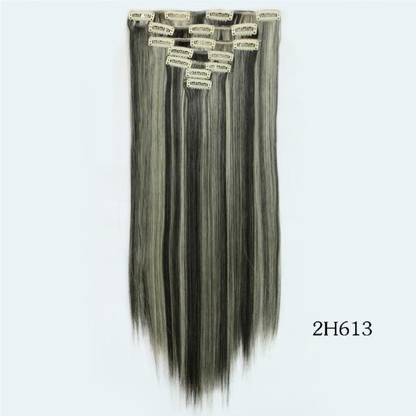 Black Blond Highlighted 2613 7pcsset 22 55cm 130g Clip In Hair