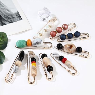 2 Pcs Bamboo Metal Pin Brooch Costume Clip Knitwear Scarf Shawl Safety Pin Gift