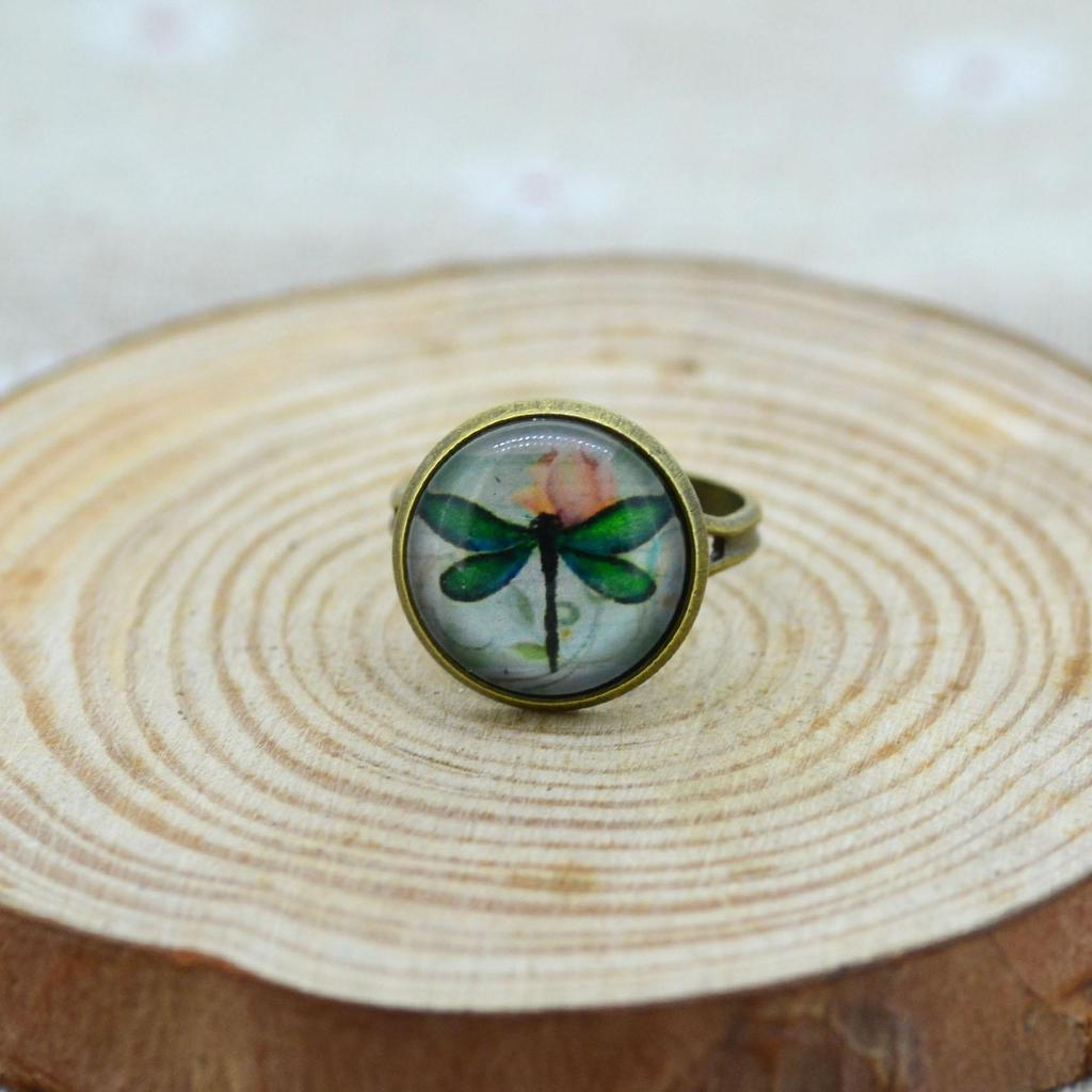 Glas Cabochon Libelle Ring RoundDome Antik Bronze Kupfer Lünette ...