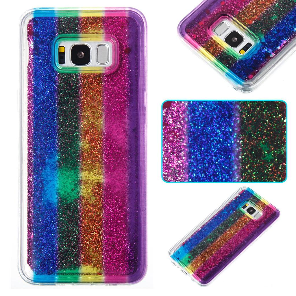 Rainbow Vertical Stripes Flowing Floating Sparkle Liquid Quicksand ... 8279c27ec407