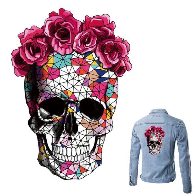 Розовый череп железа на патч уровне Easy Print, бытовые футболка Diy украшения выдавались аппликация фото