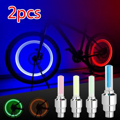 2 Mountain Bike Cycling Bicycle Wheel Accessories Valve Light Night Warning Lamp