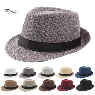 Children Kids Boys Girl Linen Fedora Trilby Panama Jazz Hat Summer Cap Charm