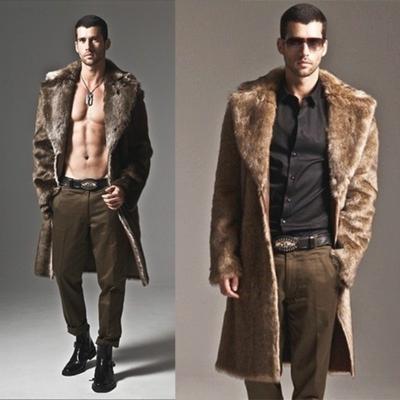 0949818894bc89 Men's Leather Fur Coat Luxury Winter Warm Overcoat Fur Parka Thick Coat  Long Outwear Jacket