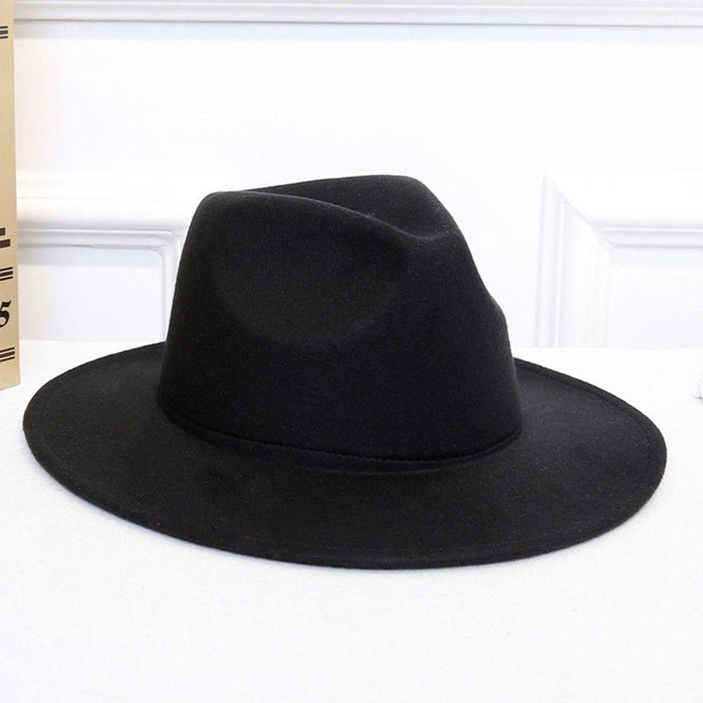 Womens 100/% Wool Felt Hat Ladies Top hat Jazz Cap Cowboy Hat Fedora Hat with Pearl Black