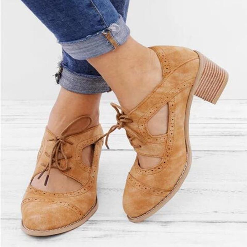 Vintage Womens Chunky PU Leather Oxford Style Block Heel Casual Shoes Slip On