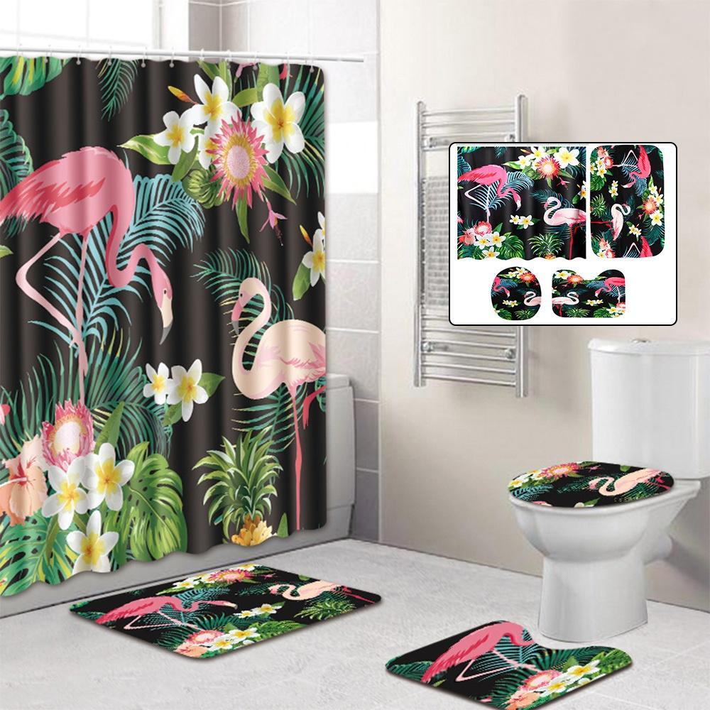 Cute Bath Rug Flamingo Bath Mat Shower Accessories Tropical Bathroom Decor