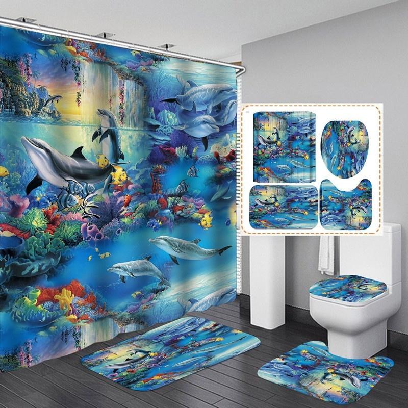 Big Tiger Lying Down 3D Shower Curtain Polyester Bathroom Decor  Waterproof