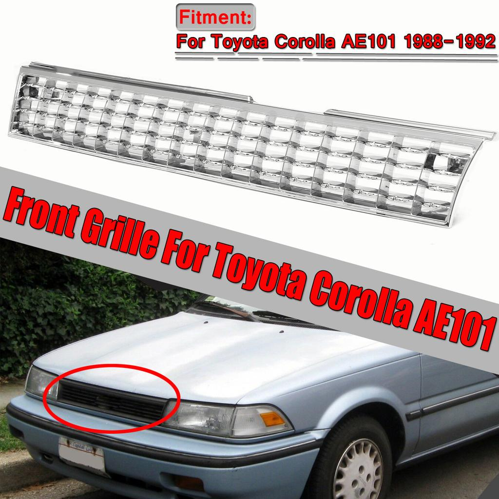 For 88-92 Toyota Corolla AE101 Front Bumper Upper Grill Grille Chrome Silver