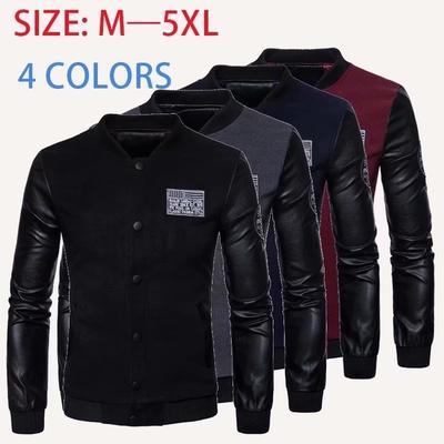 9a0cb99b8ba 2019 одежду Пу кожа куртка мода случайные тонкий большого размера зимой кожа  Куртка мужская S-