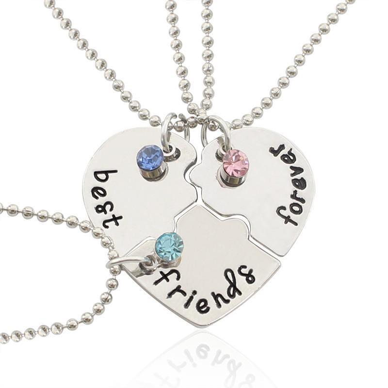 zp-beauty / 3 шт/набор лучшие друзья навсегда Diamond ожерелье Bestie-в форме сердца кулон ожерелье