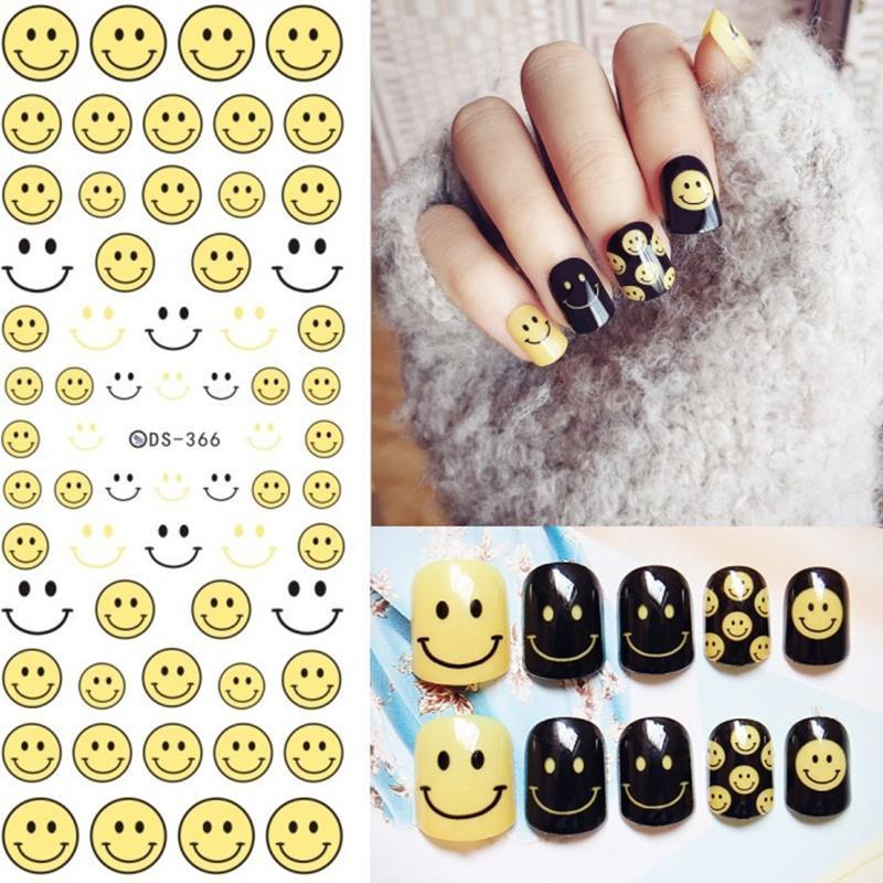 Etiquetas de la etiqueta engomada del arte de uñas maquillaje Emoji ...