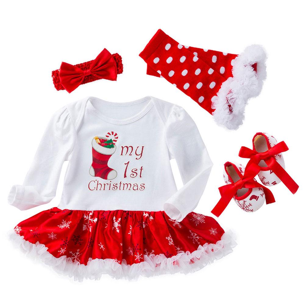 Baby Girls My First 1st Christmas Costume Romper Tutu Skirt with Headband Santa Claus Dress One-piece Long Sleeve Bodysuit Newborn Infant Toddler Princess Xmas Birthday Fancy Dress Up Party Outfit Set
