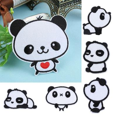 Fashion Decoration Cartoon Embroidered Patch Pandas Iron-On Craft Applique