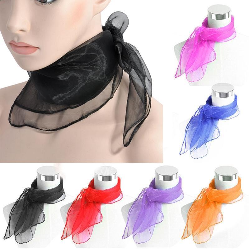 Винтажные подарок шифон шеи галстук волос голову обернуть шарф причудливый девушка красочные тонкой 50s свет фото