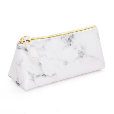 2935e2f221405 Trzy sztuki torebki kosmetycznej Marble PU Stone Dumpling Make-up Bag Women  Ladies White /