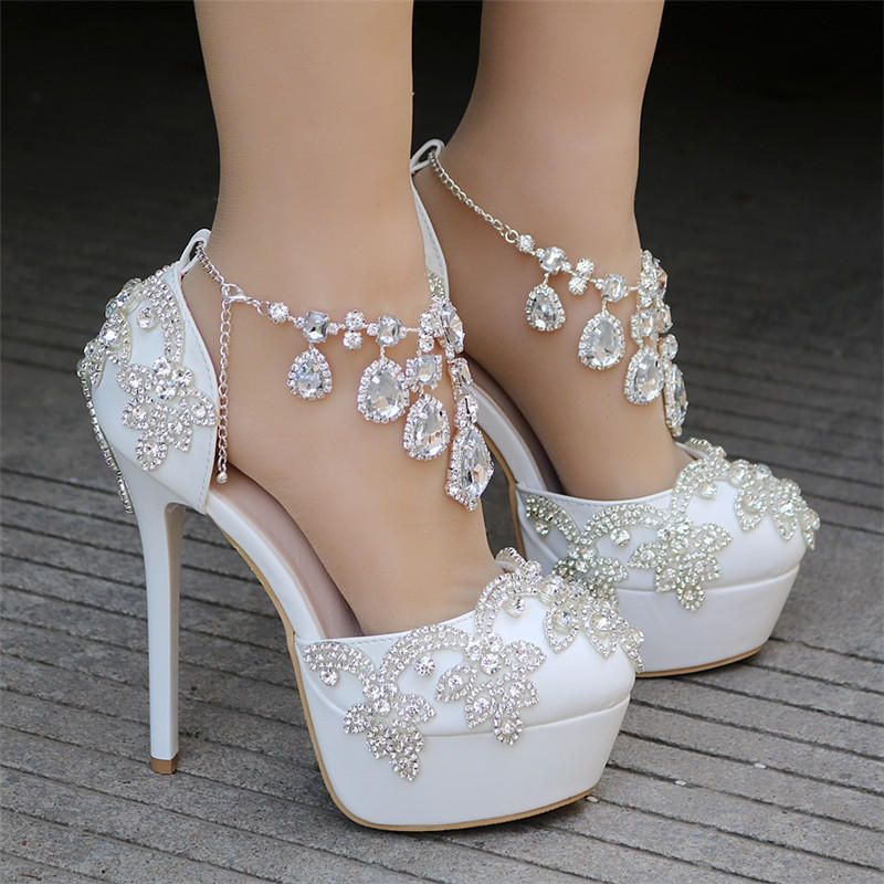 Crystal Queen Wedding Shoes Luxury Diamond Drill Tassel Flower Chain Pumps  Women Round toe Platform 14cm Thin High Heels-buy at a low prices on Joom  ... 16079dba1a10