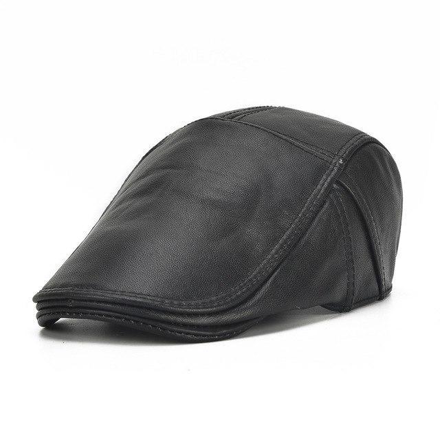 3c0d8155e9d86 Sólido Boina cuero boina sombrero cuero Masculina plana tapa Homme ...