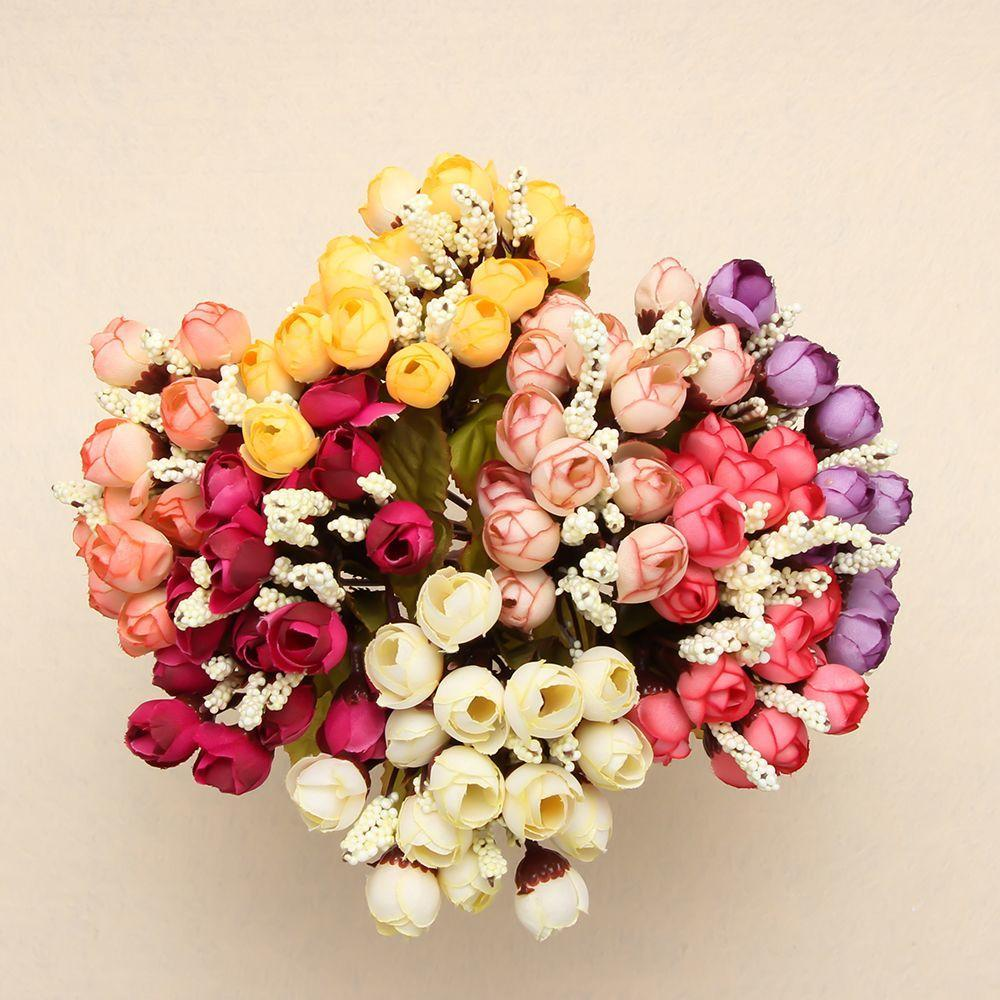 15 Heads Artificial Dried Small Rose Silk Bouquet Wedding Flower Party Decors