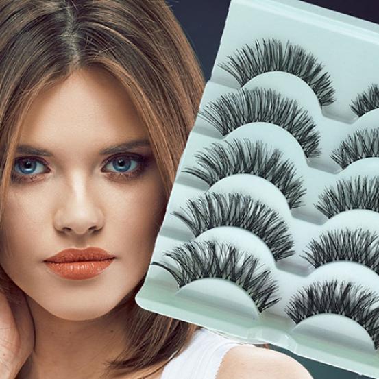 5 пар потрясающий макияж ручной работы грязный природных крест ложные ресницы глаз ресницы фото