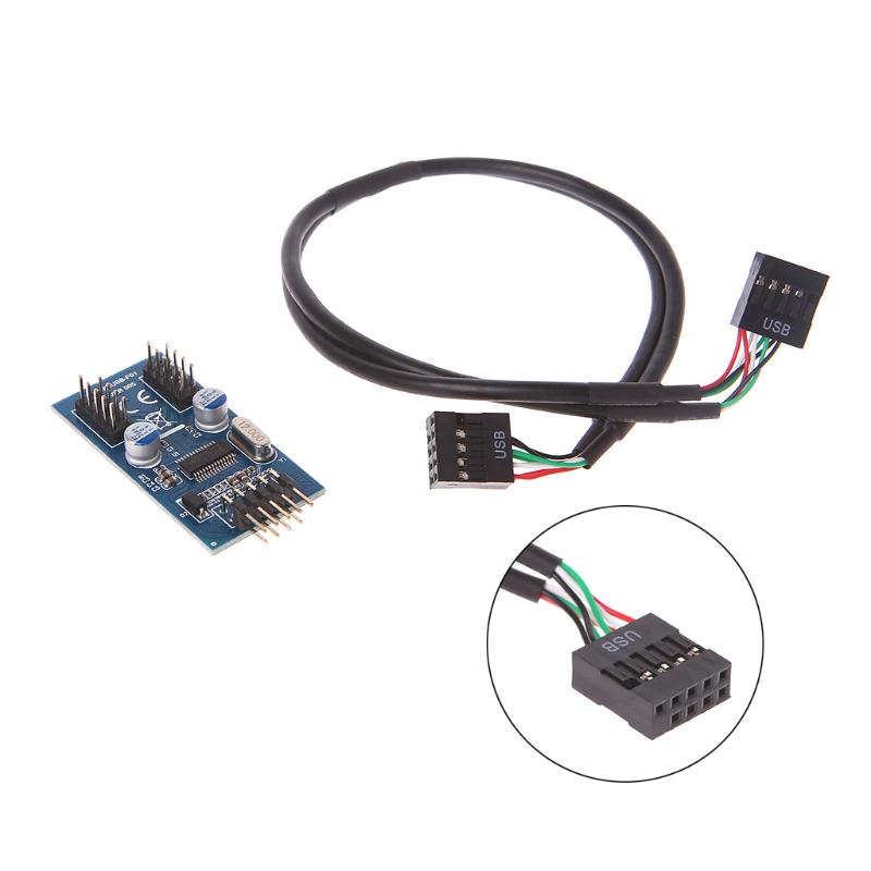 Cables 1 Set PC Case Internal 9 Pin USB 2.0 to Dual 9 Pin PCB Double Chipset Enhanced Cable High Speed Cable Length: Other