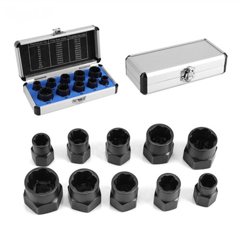 10pc Damaged Bolt Nut Remover Extractor Removal Socket Threading Tools Kit