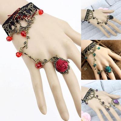 Womens Black Lace Bracelet Chain Finger Ring Lolita Gift Gothic Beads Bangle