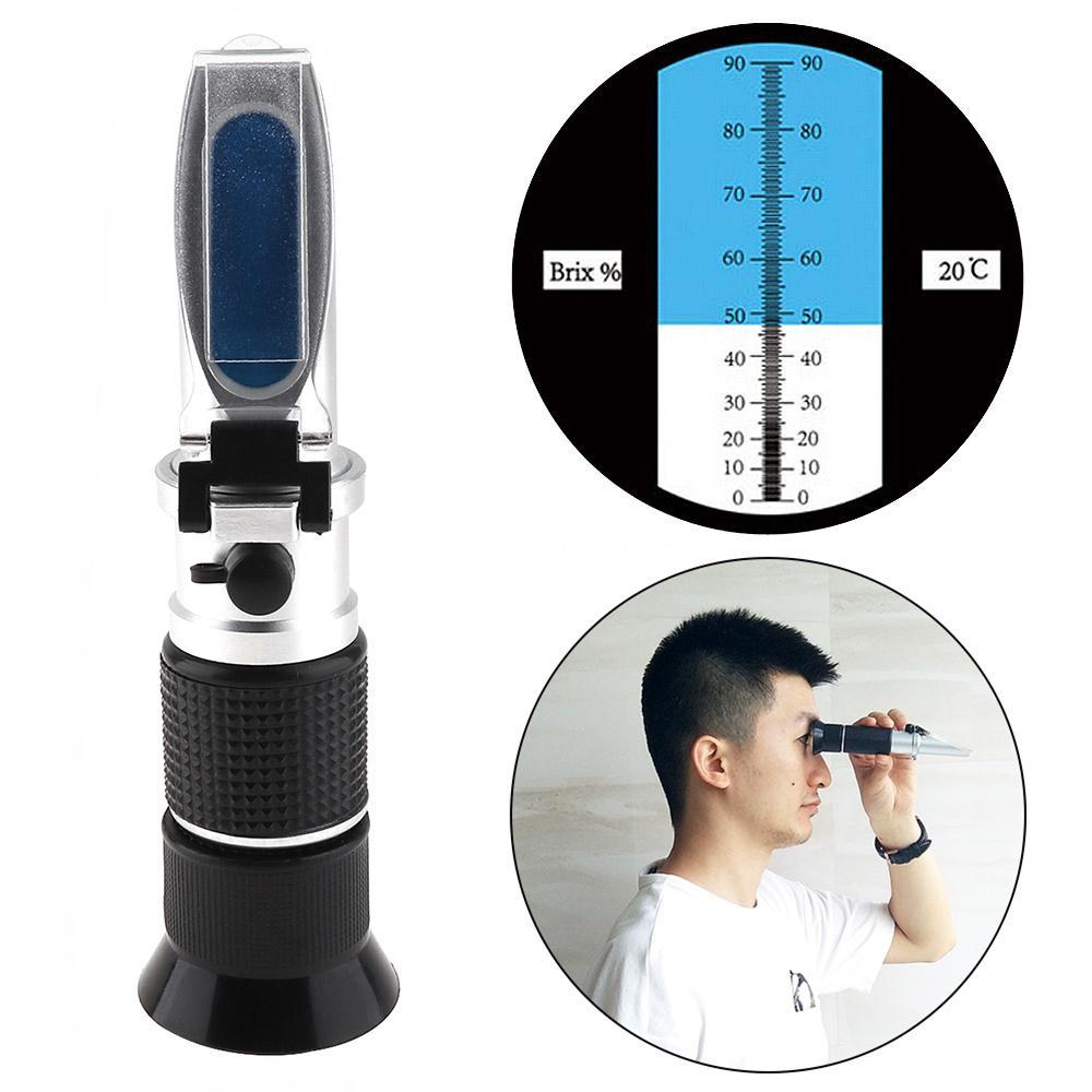 RZ117 Brix Refractometer 0-90/% Automatic Temperature Compensation Refractometer RHB-90 ATC Handheld Brewing Refractometer Refractometer Refractometer for Honey Sugar Fruit Sauce