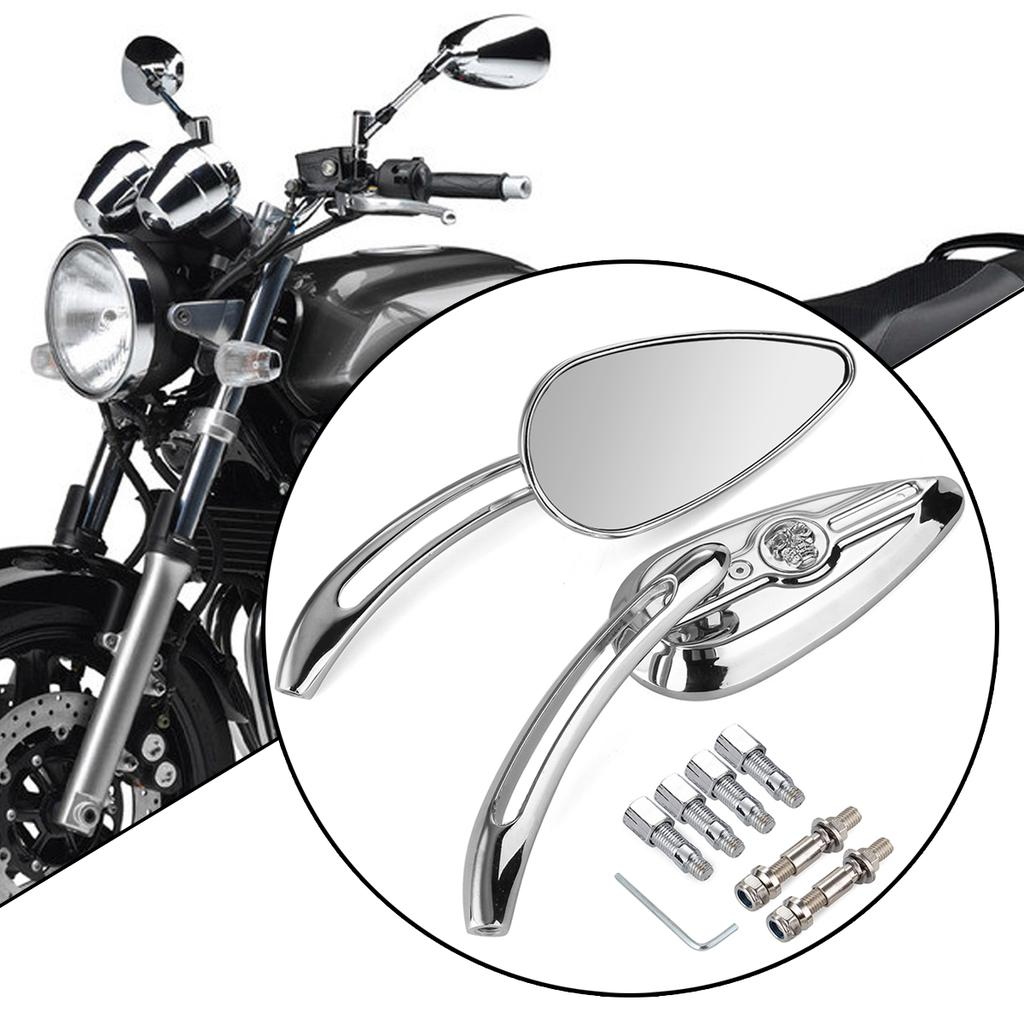 Chrome Clear Rear View Mirrors For Harley Touring Sportster Dyna Softail Bobber