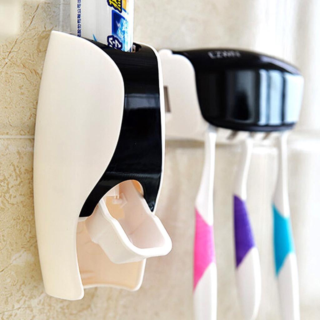Black Automatic Toothpaste, Bathroom Toothbrush Holder Set