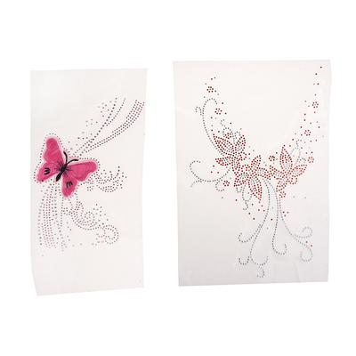 SMALL BUTTERFLY X2 Iron On Hotfix Rhinestone Diamante Transfer Motif WEDDING