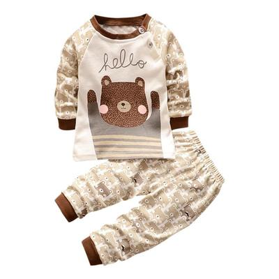 FEITONG 2PCS Toddler Baby Boys Girls Long Sleeve Cartoon Bear Print Top Clothes+Pants Set Outfit