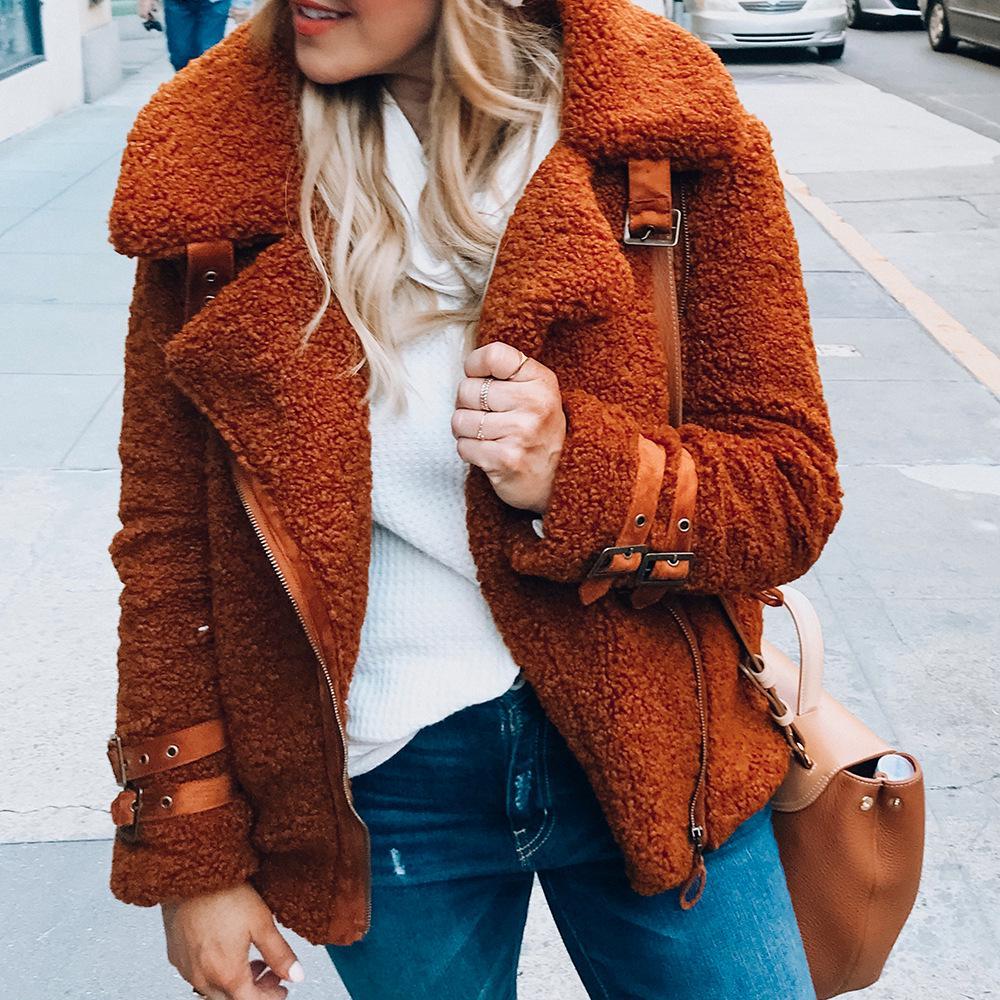 Осень Зимняя ягненка меховое пальто женщины короткий плюс размер 3XL Утолщение Тонкий Бархат Мягкие хлопчатобумажные пальто – купить по низким ценам в интернет-магазине Joom