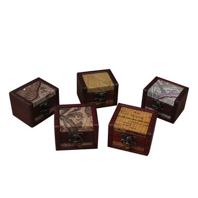 Vintage Wooden Jewellery Box with Metal Lock Trinket Chest Gift Case CH