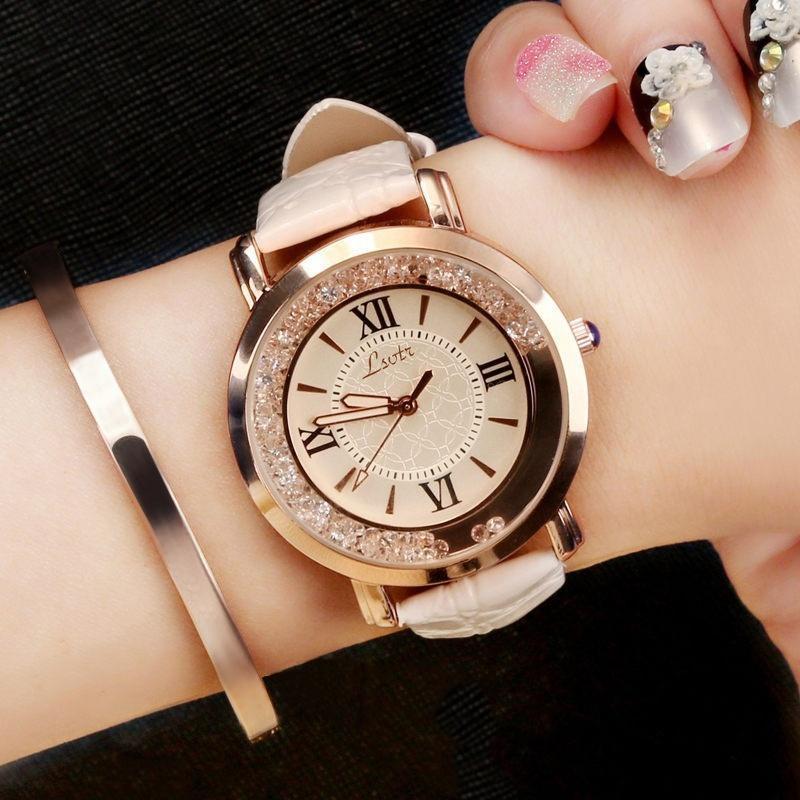 LSVTR一件代发 淘宝速卖通爆款流动水钻女表韩国时尚学生皮带手表
