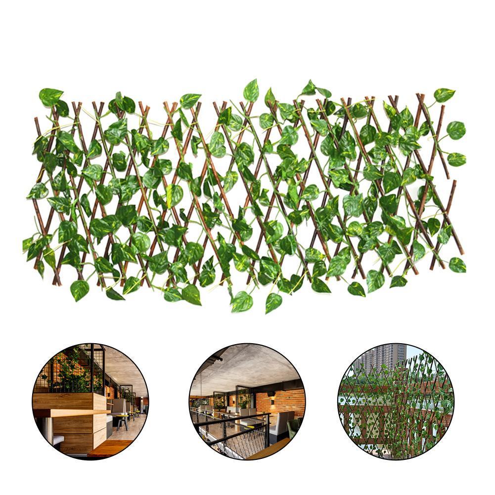 Garden Screening Trellis Expanding Wooden Fence Artificial Plant Leaves Decor