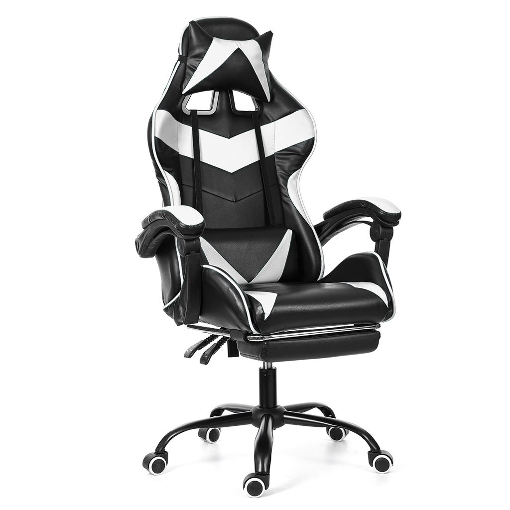Racing Gaming Chair PU Recliner Office Swivel Lift Laptop Computer Chair Black