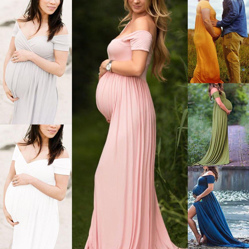 Vestidos de fiesta de boda de maternidad vestido Maxi de gasa ...