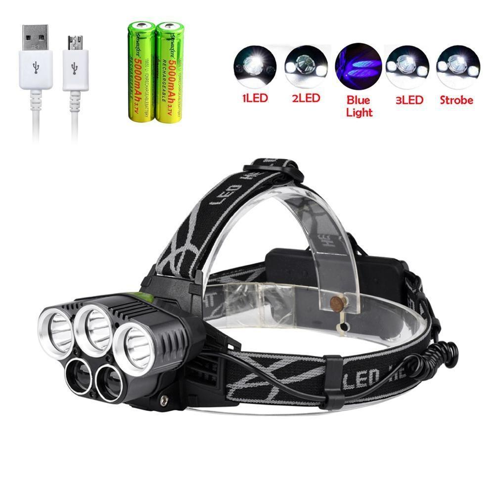 15000LM Headlamp CREE XM-L 3x T6 LED Headlight 18650 ZOOM Light Battery Charger