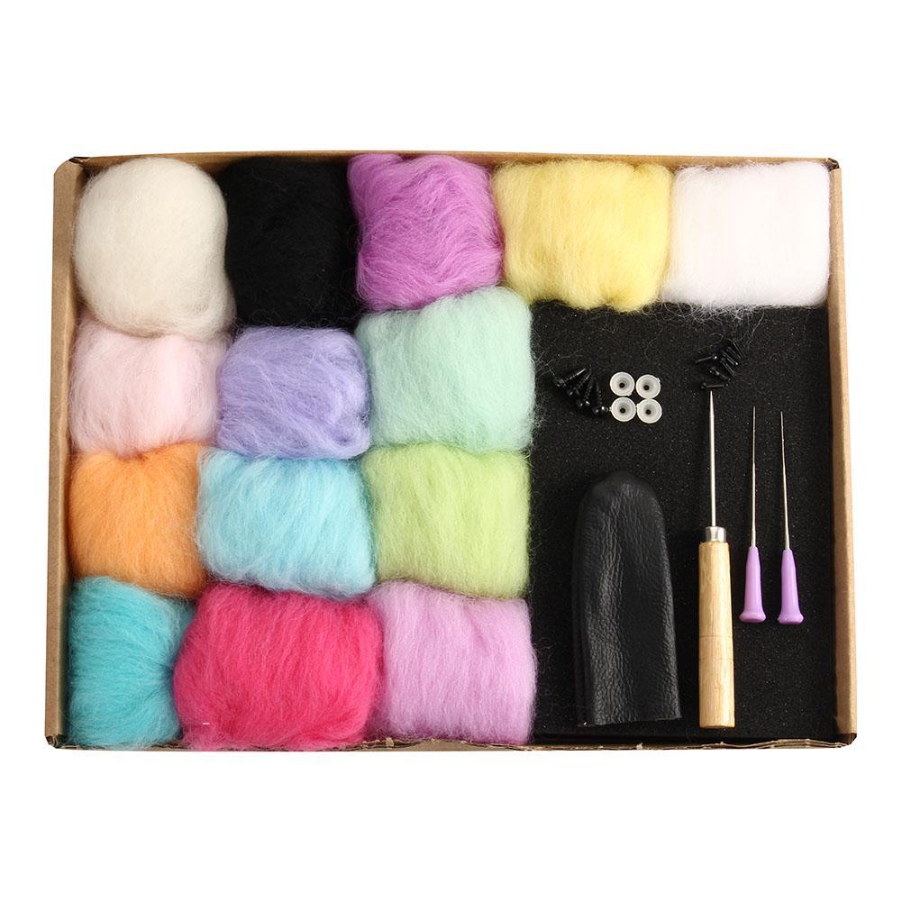 Artesanía de fieltro fieltrar 100X agujas de lana fieltro Pocked Agujas Set Aguja Mano Artesanal