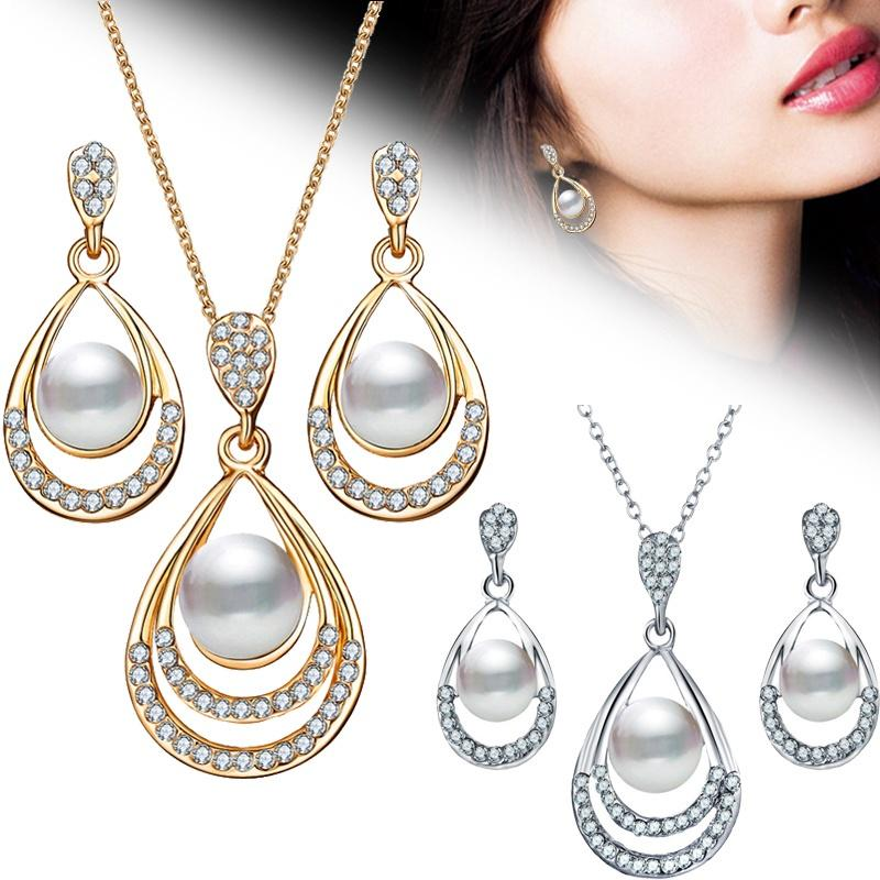 2Pcs/Set Fashion Jewelry Set Drop Necklace Earrings Bridal female Ear-rings