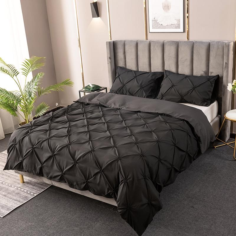 Pinch Pleated Grey Duvet Cover Bedding Set Single Double King With Pillow Cases