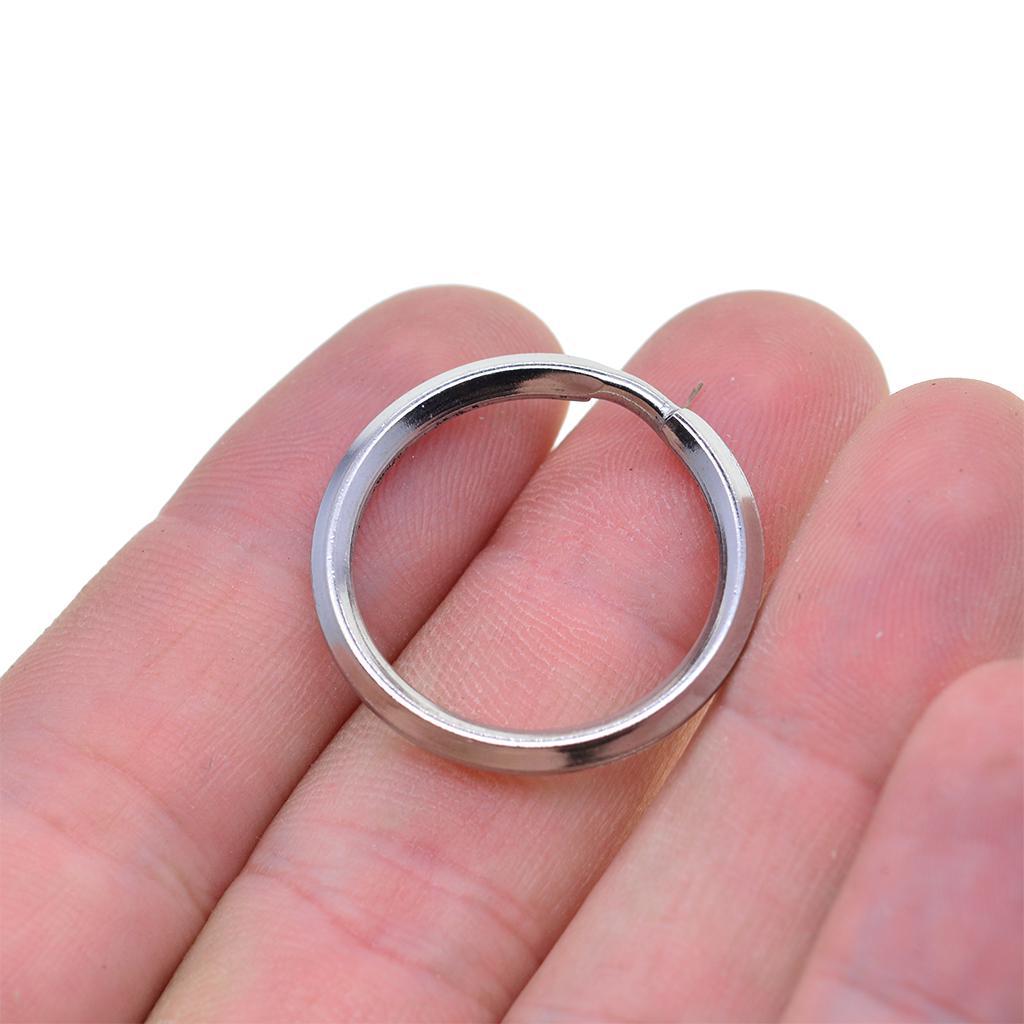 100PCS Silver Steel Key Rings Chains Split Ring Hoop Metal Loop Making 25mm OU