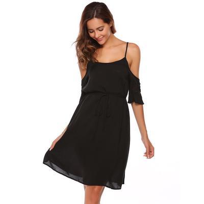 0b54ffc725 ALOFA Women Sexy Flare Sleeve Lace Patchwork Zimne ramiączka Spaghetti  Strap Cocktail Dress