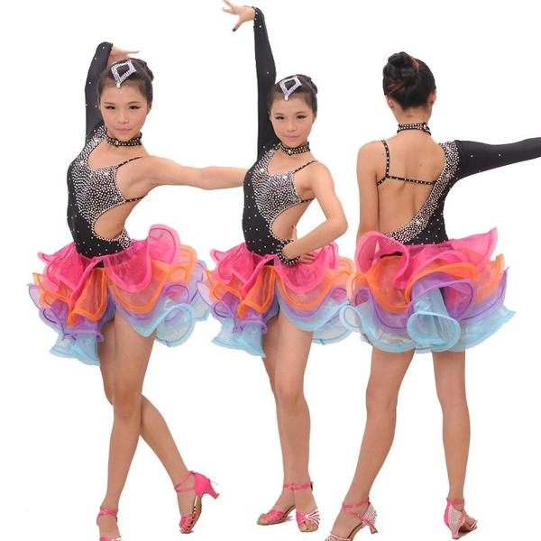 Child Women Tutu Lyrical Dress Ballet Ice Skating Dance Embroidery Sling Costume